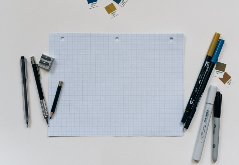 Graph paper and writing tools. Photo by Kelly Sikkema.